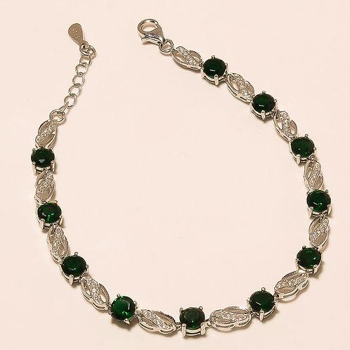 Tsavorite Gemstone Sterling Silver Bracelet