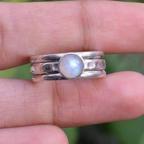 Sterling Silver Moonstone Spinner Ring