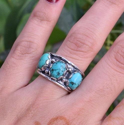 Three Stone Turquoise, Amethyst, Moonstone, Labradorite Ring