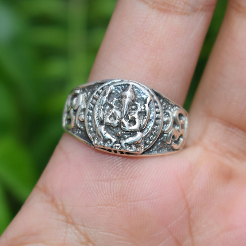 Lord Ganesha Sterling Silver Ring