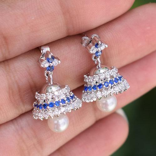 Tanzanite,zircon & Pearl Beautiful Indian Jhumka Earrings