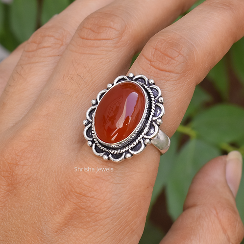 925 Sterling Silver Red Onyx Ring