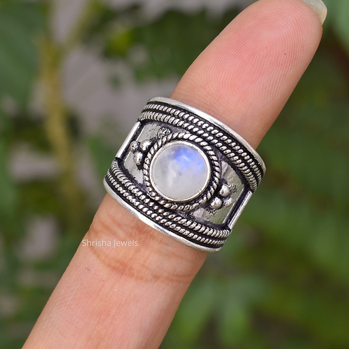 925 Sterling Silver Round Moonstone Bohemian Ring