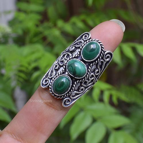 925 Sterling Silver Malachite Designer Ring