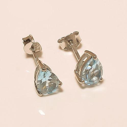Aquamarine Gemstone Sterling Silver Stud Earrings For Women & Girls