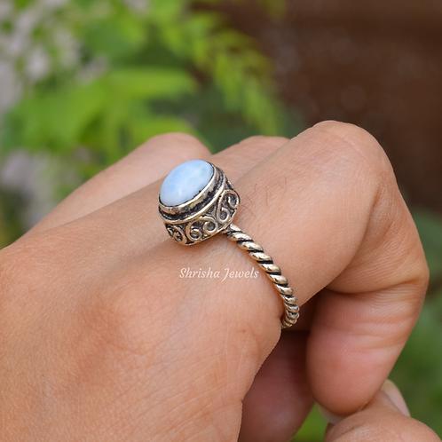 Natural Larimar 925 Silver Ring