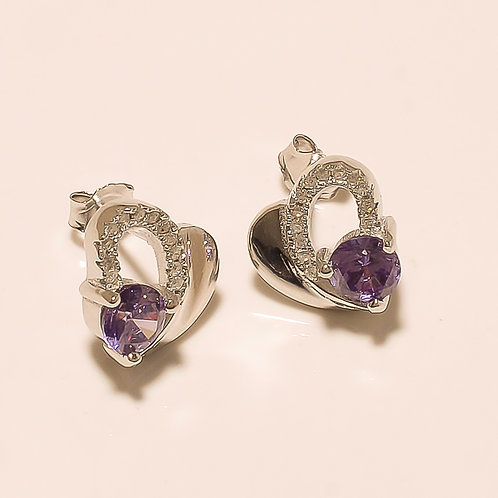 Amethyst Gemstone Sterling Silver Stud Earrings For Women & Girls