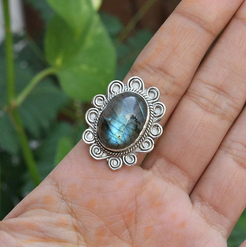 925 Sterling Silver Semi Precious Gemstone  Ring