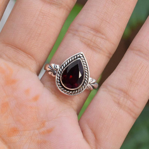 925 Silver Natural Garnet Ring