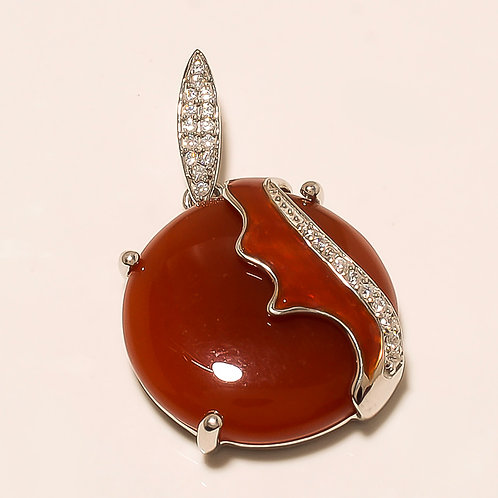 Chalcedony Silver Pendant With Glossy Brown Enameling