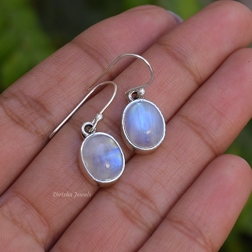 Natural Oval Moonstone 925 Silver Earrings