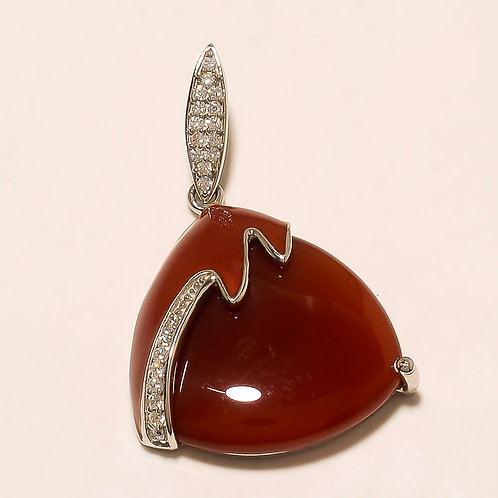Chalcedony Silver Pendant With Glossy Brown Enameling & Zircons