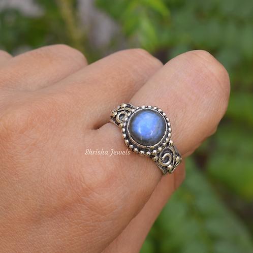 Vintage Labradorite Ring 925 Sterling Silver Ring