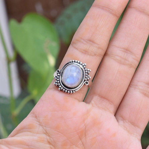 925 Sterling Silver Rainbow Moonstone Gemstone  Rings