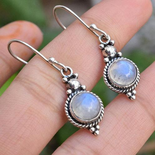 Natural Moonstone Or Labradorite 925 Silver Earrings