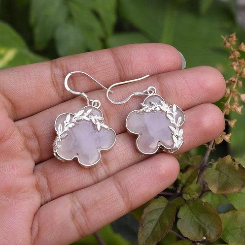 Flower Cut Natural Rose Quartz 925 Silver Earrings