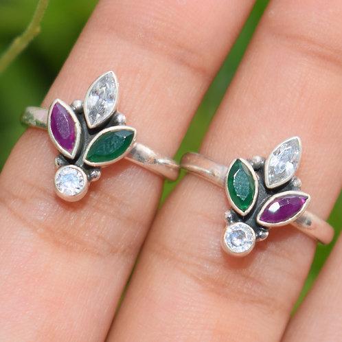 Ruby, Green Onyx & Zircon Silver Toe Ring Adjustable Size