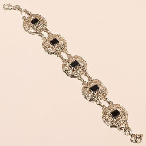 Black Onyx Sterling Silver Filligree Work Bracelet