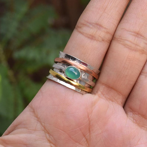 Green Onyx 925 Silver Spinner Ring