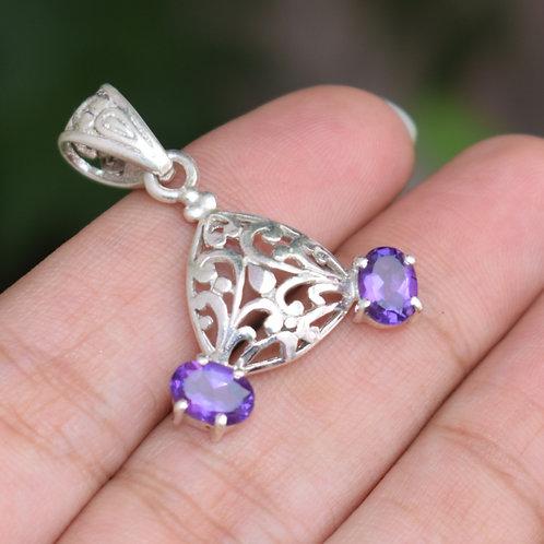 Amethyst Gemstone Sterling Silver Pendant