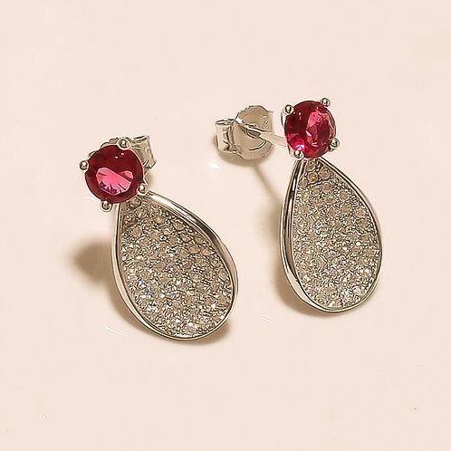 Pink Topaz Sterling Silver Stud Earrings For Women & Girls