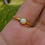 Thumbnail: Natural Round Opal Gold Plated 925 Silver Ring