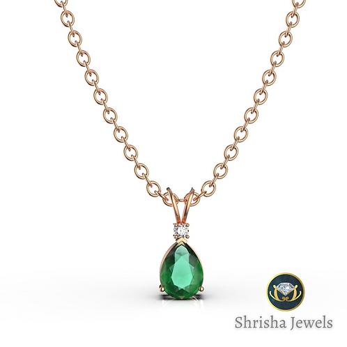 Zambian Emerald Pendant • 18k Gold Pendant • May Birthstone Pendant