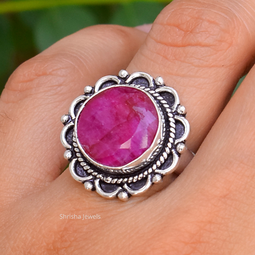 925 Sterling Silver Ruby Ring