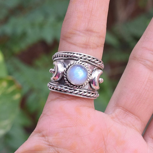 Crescent Moon Ring, Moonstone Ring, Chunky Boho Sterling Silver Ring for Women
