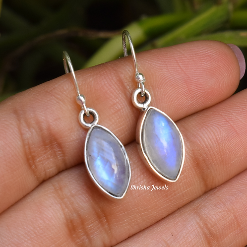 Natural Moonstone Marquise 925 Silver Earrings
