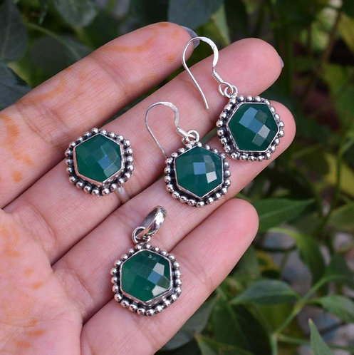 925 Silver Natural Green Onyx Ring, Pendant, Earrings Set