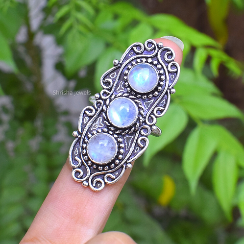 925 Sterling Silver Moonstone Ring