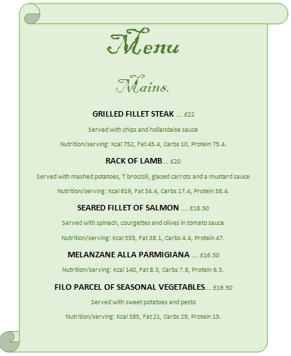 Mains menu + Description + Price + Nutrition infos