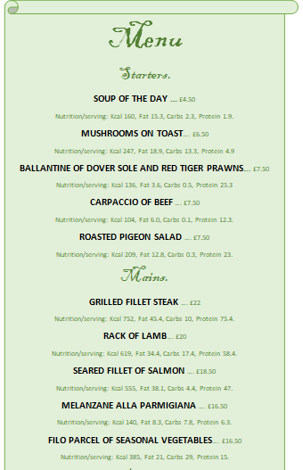 Starters and Mains menu + Price + Nutrition infos