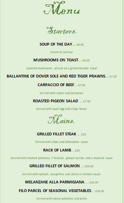 Starters and Mains menu + Description + Price