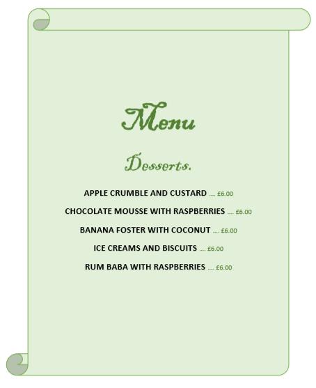 Desserts + Prices
