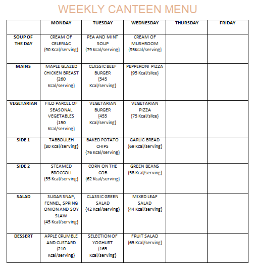 Weekly Canteen Menu