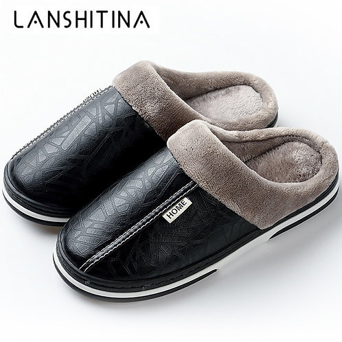 2020 Men's Slippers Winter Leather Waterproof Non-Slip Slippers Lovers Fur Shoes