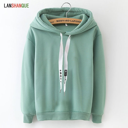 Hoodies Women Long Sleeve Solid Color Hooded Sweatshirt