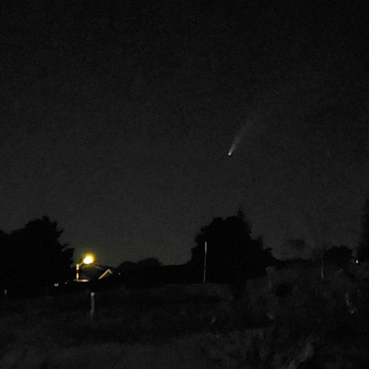 A comet in the night sky.