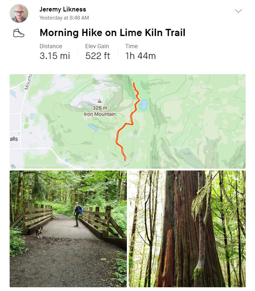 A hike route, a picture of a bridge, and a large tree stump
