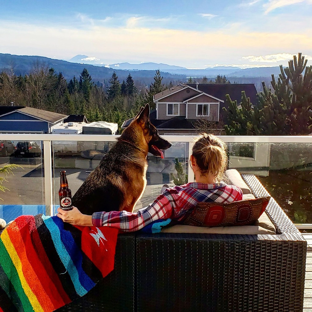 Indi, my wife, and a beautiful view