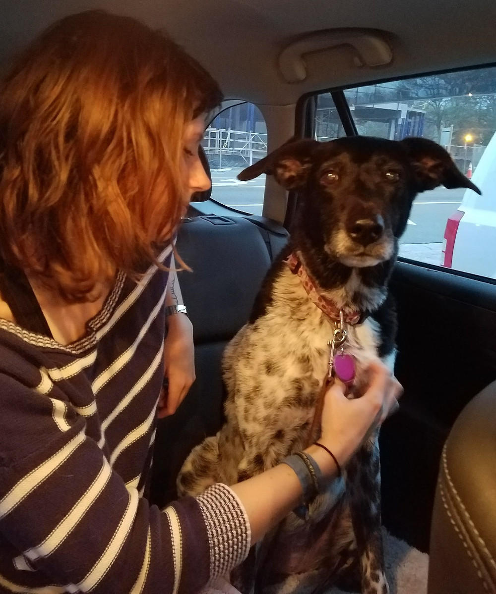 Lizzie and Lizzie Girl in a car
