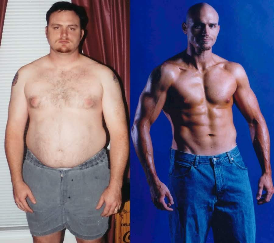 A before and after image showing Jeremy's weight loss