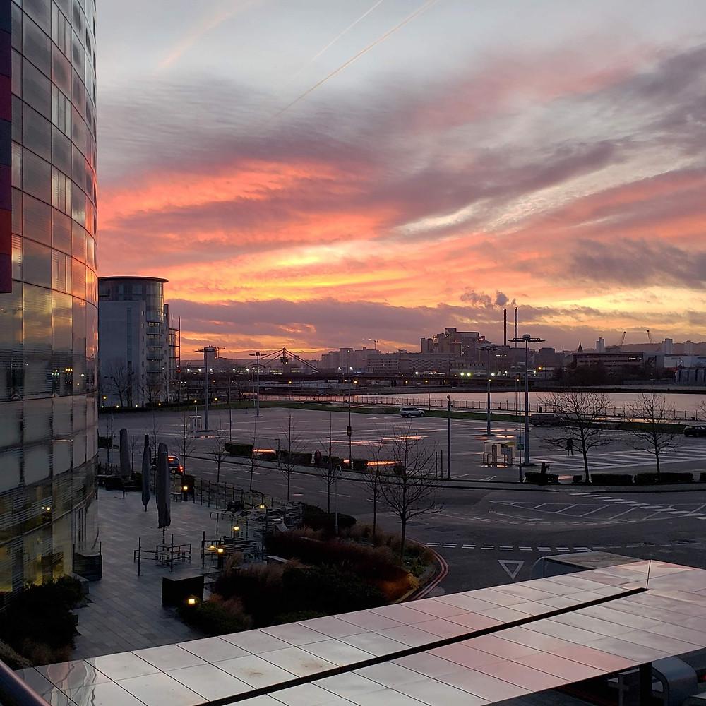 A sunrise over London