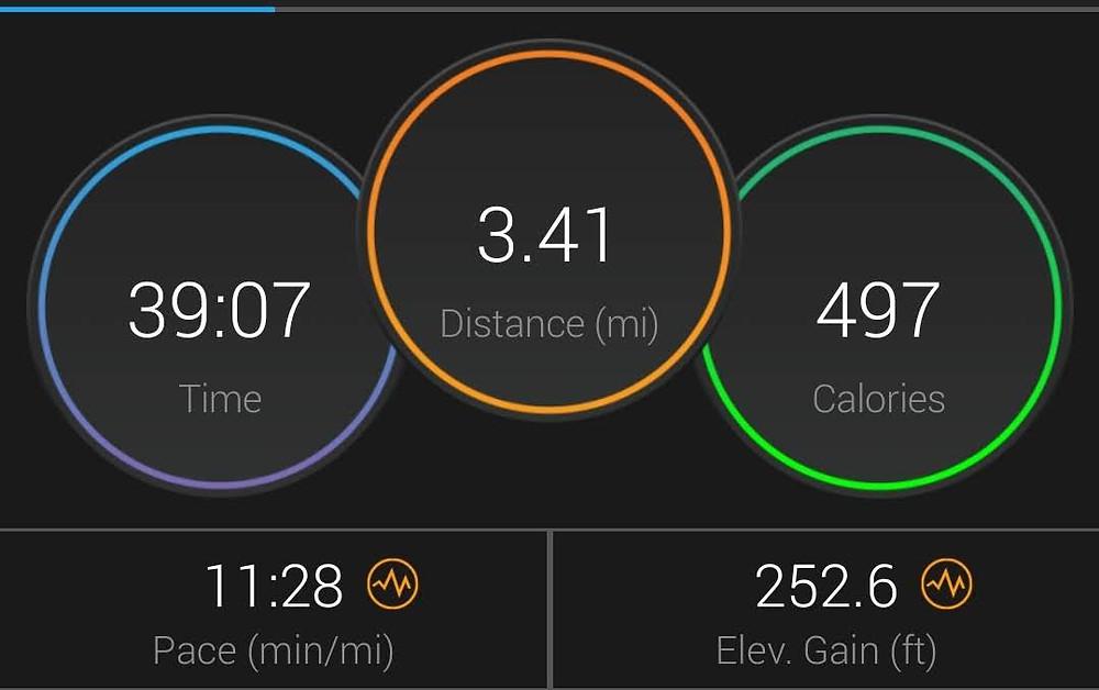 39:07 time, 3.41 distance, 497 calories