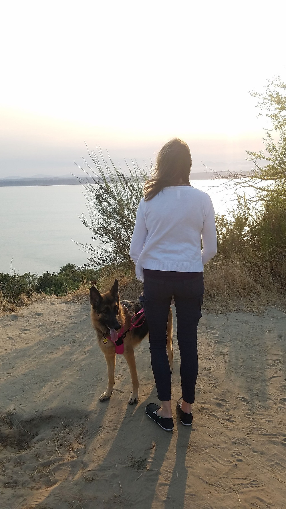 Indi and Doreen overlooking the water