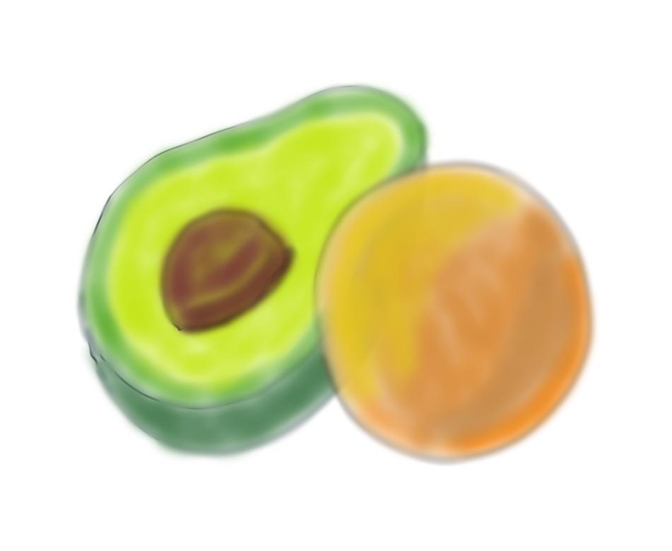 An avocado and an orange