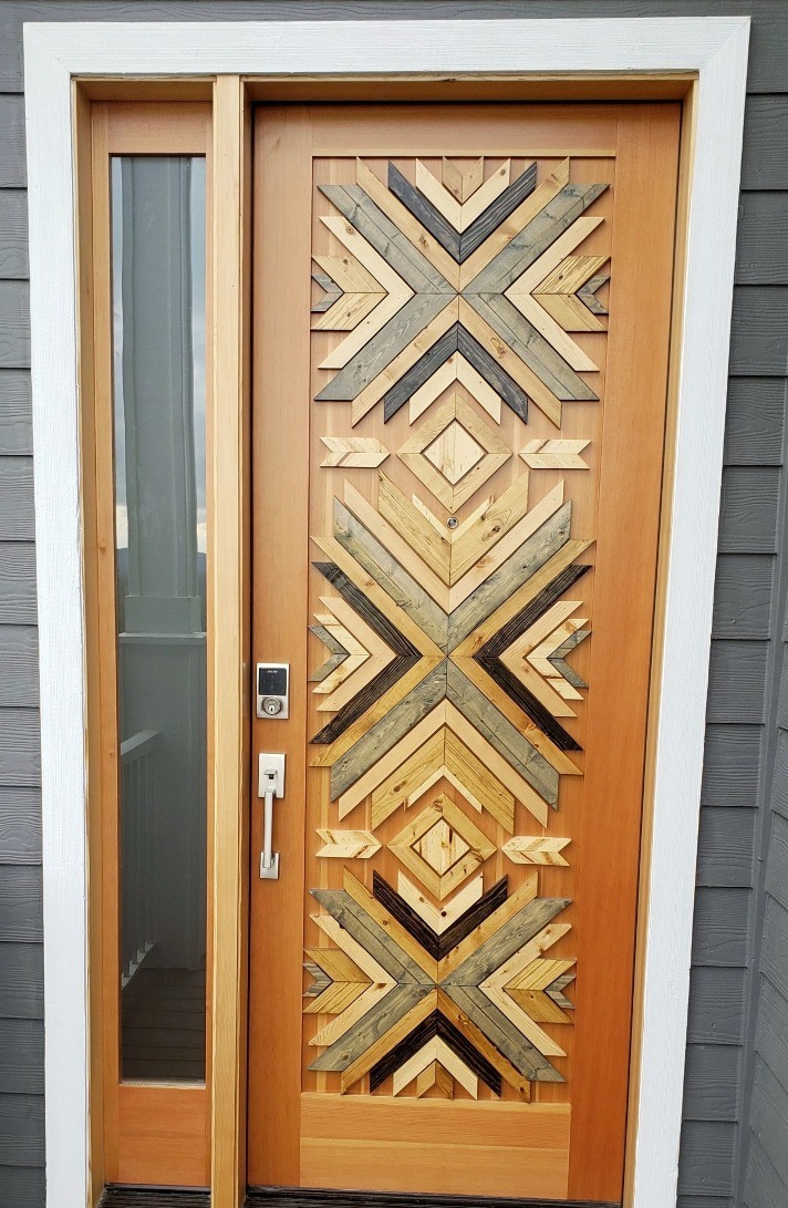 A door with custom artwork on the front
