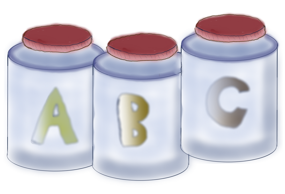 A drawing of pill bottles